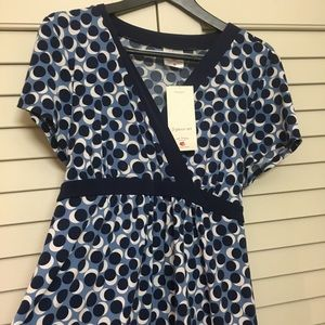Two Hearts Maternity Tops - Size XL Blue Dot Two Hearts Maternity Blouse
